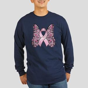 Pink Butterfly Hope Long Sleeve Dark T-Shirt