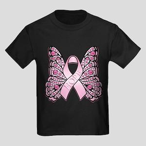 Pink Butterfly Hope Kids Dark T-Shirt