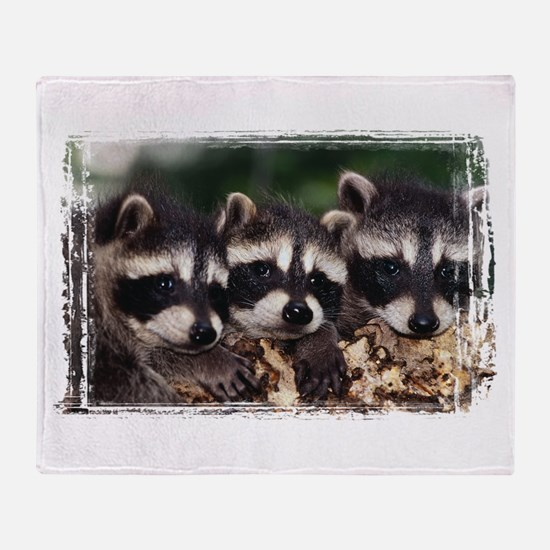 3 Raccoons Throw Blanket