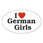 I loves German Girls Oval Sticker