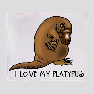 I Love my Platypus Throw Blanket