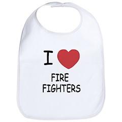 I heart fire fighters Bib