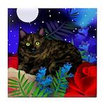 Tortoiseshell Cat Moon Garden Tile Coaster