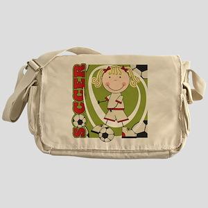 Blond Girl Soccer Player Messenger Bag