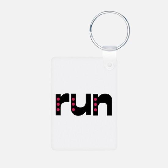 run - pink polka dots Keychains