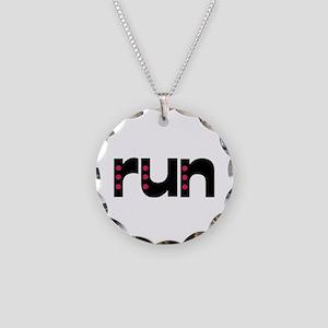 run - pink polka dots Necklace Circle Charm
