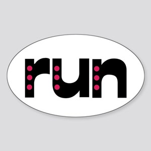 run - pink polka dots Sticker (Oval)