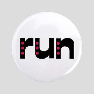 """run - pink polka dots 3.5"""" Button"""