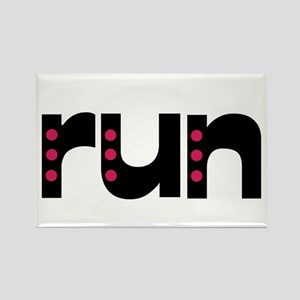 run - pink polka dots Rectangle Magnet