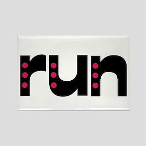 run - pink polka dots Rectangle Magnet