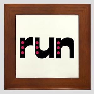 run - pink polka dots Framed Tile