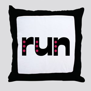 run - pink polka dots Throw Pillow