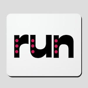 run - pink polka dots Mousepad