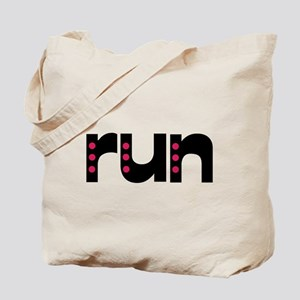 run - pink polka dots Tote Bag