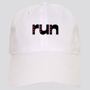 run - pink polka dots Cap