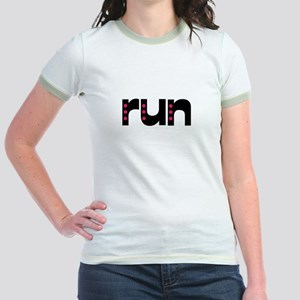 run - pink polka dots Jr. Ringer T-Shirt