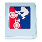 Red White and Blue BMX Bike Rider baby blanket