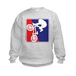 Red White and Blue BMX Bike Rider Kids Sweatshirt
