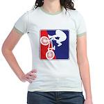 Red White and Blue BMX Bike Rider Jr. Ringer T-Shi