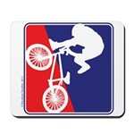 Red White and Blue BMX Bike Rider Mousepad