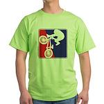 Red White and Blue BMX Bike Rider Green T-Shirt