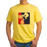 Red White and Blue BMX Bike Rider Yellow T-Shirt
