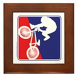 Red White and Blue BMX Bike Rider Framed Tile