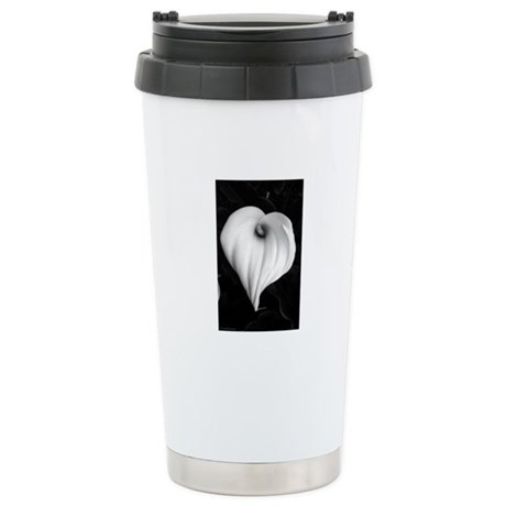 Black and White Calla Lily Stainless Steel Travel