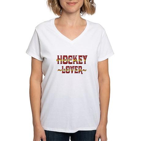 Hockey Lover Women's V-Neck T-Shirt