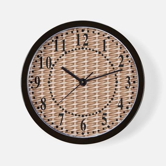 Brown Wicker Look Wall Clock