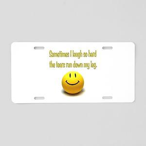 Laugh Hard Aluminum License Plate