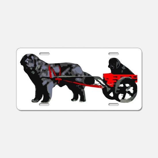 Newf Puppy in Draft Cart Aluminum License Plate