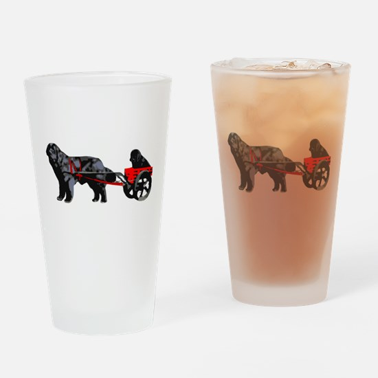 Newf Puppy in Draft Cart Drinking Glass