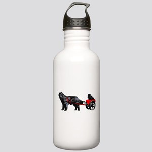 Newf Puppy in Draft Cart Stainless Water Bottle 1.