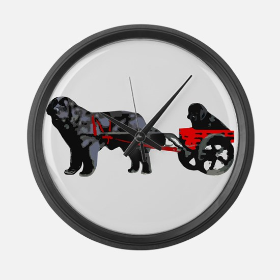 Newf Puppy in Draft Cart Large Wall Clock