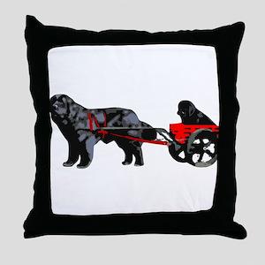 Newf Puppy in Draft Cart Throw Pillow