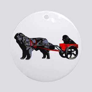Newf Puppy in Draft Cart Ornament (Round)