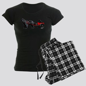 Newf Puppy in Draft Cart Women's Dark Pajamas