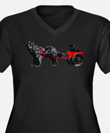 Newf Puppy in Draft Cart Women's Plus Size V-Neck