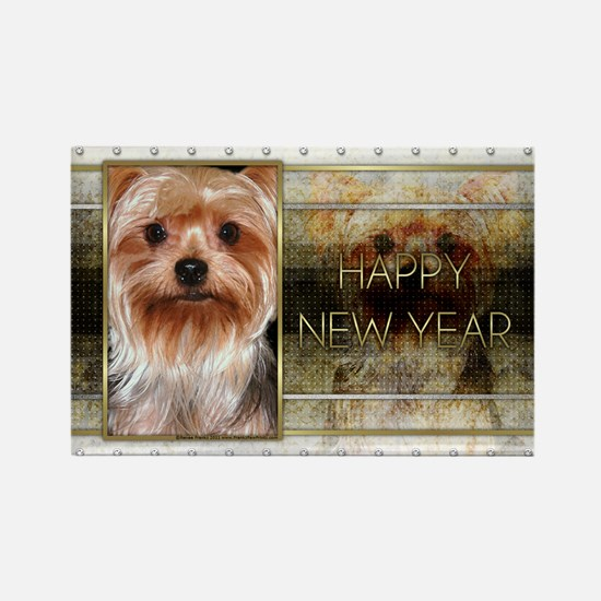 New Year - Golden Elegance - Yorkie Rectangle Magn