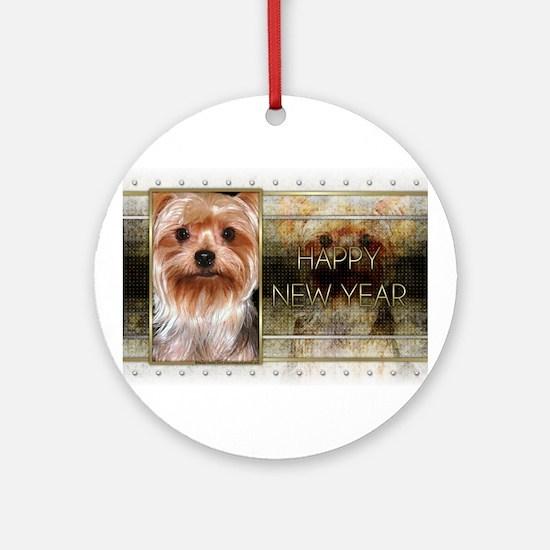 New Year - Golden Elegance - Yorkie Ornament (Roun