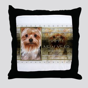 New Year - Golden Elegance - Yorkie Throw Pillow