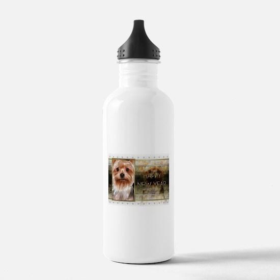 New Year - Golden Elegance - Yorkie Water Bottle