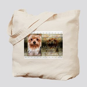 New Year - Golden Elegance - Yorkie Tote Bag