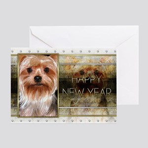 New Year - Golden Elegance - Yorkie Greeting Card