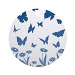 Blue Butterfly Art Round Ornament