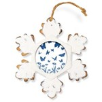 Blue Butterfly Art Rustic Snowflake Ornament