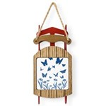 Blue Butterfly Art Sled Ornament