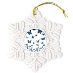 Blue Butterfly Art Snowflake Ornament