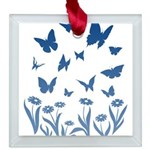 Blue Butterfly Art Square Glass Ornament